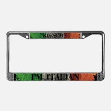 Kiss Me I'm Italian Flag License Plate Frame