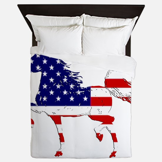 Patriotic American Gaited Horse Queen Duvet