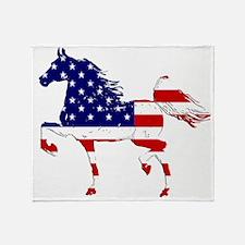 Patriotic American Gaited Horse Throw Blanket