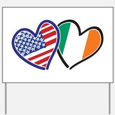 USA Ireland Heart Flags Yard Sign