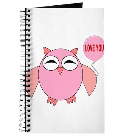 Cute Pink Owl Love You Balloon Journal