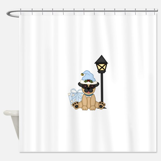 Pug Dog-Xmas 2 Shower Curtain
