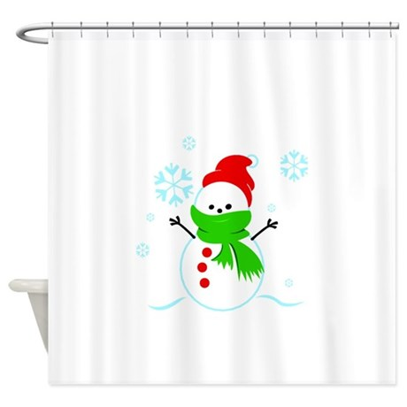 Snowman With Red Hat Shower Curtain By