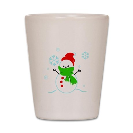 Snowman with red hat Shot Glass