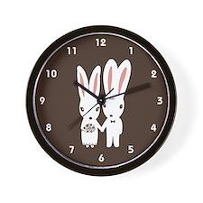 Bunnies Wedding Wall Clock