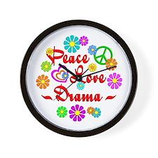 Peace Love Drama Wall Clock