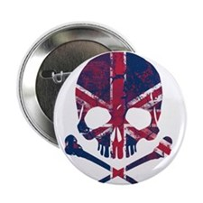 "Union Jack Skull 2.25"" Button"