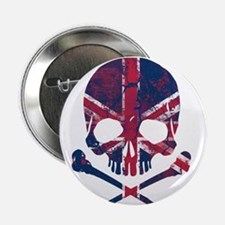 """Union Jack Skull 2.25"""" Button"""