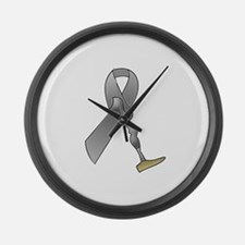 Amputee Ribbon Large Wall Clock