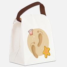 FOOTPRINTS, SAND, SEASHELLS Canvas Lunch Bag