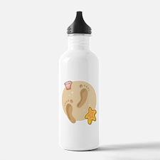 FOOTPRINTS, SAND, SEASHELLS Water Bottle
