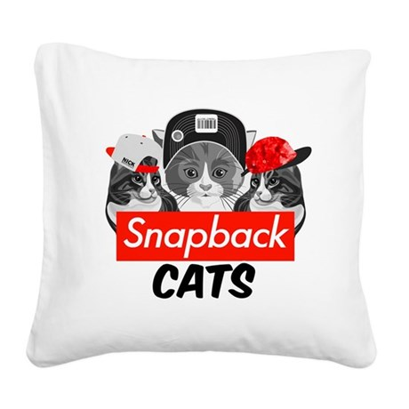 Snapback Cats Square Canvas Pillow