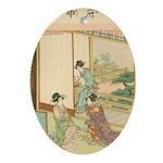 Japanese illustration Oval Ornament