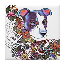 Pitbull Celebrate Day of the Dead Tile Coaster