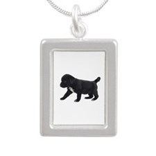Labrador Retriever Puppy Silver Portrait Necklace