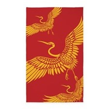 Japanese Crane Bird In Flight 3'X5' Area Rug