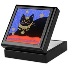 Black Moroccan CAT ART Keepsake Box