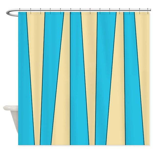 Uneven Stripes Aqua Cream Shower Curtain By Jqdesigns