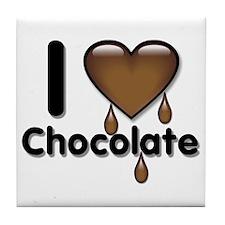 I Love Heart Chocolate Lover Tile Coaster
