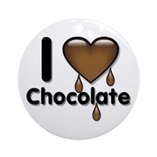 I Love Heart Chocolate Lover Ornament (Round)