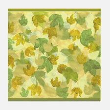 vineyard leaves tapestry square Tile Coaster