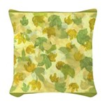 vineyard leaves tapestry square Woven Throw Pillow