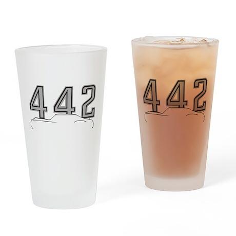 Cutlass Silhouette - 442 logo up Drinking Glass