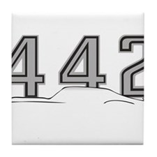 Cutlass Silhouette - 442 logo up Tile Coaster