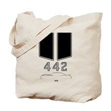 Olds 442 silhouette with logo and stripes Tote Bag