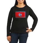 Tennessee Flag Women's Long Sleeve Black T-Shirt
