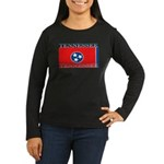Tennessee Flag Women's Long Sleeve Brown T-Shirt