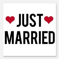 just married with two red hearts Square Car Magnet