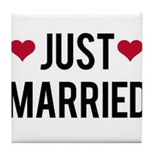 just married with two red hearts Tile Coaster