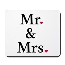 mr. and mrs. with two red hearts Mousepad