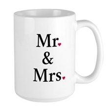 mr. and mrs. with two red hearts Mug