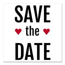 save the date with two red hearts Square Car Magne