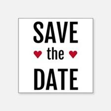 save the date with two red hearts Sticker