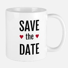 save the date with two red hearts Mug