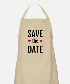save the date with two red hearts Apron
