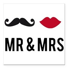 mr and mrs with mustache and red lips Square Car M