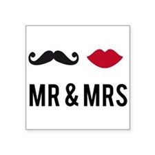 mr and mrs with mustache and red lips Sticker