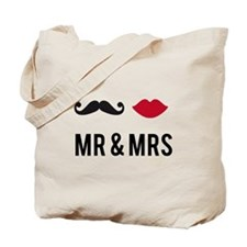 mr and mrs with mustache and red lips Tote Bag