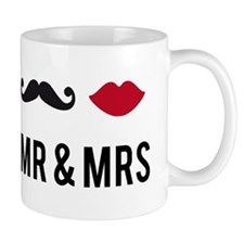 mr and mrs with mustache and red lips Small Mugs