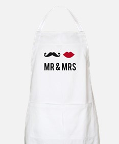 mr and mrs with mustache and red lips Apron