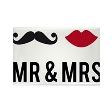 mr and mrs with mustache and red lips Rectangle Ma