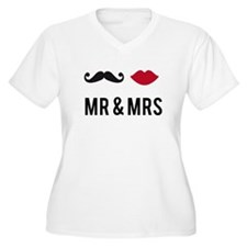 mr and mrs with mustache and red lips Plus Size T-