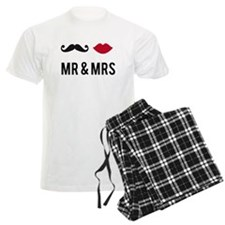 mr and mrs with mustache and red lips Pajamas
