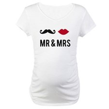 mr and mrs with mustache and red lips Shirt