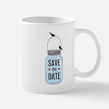 save the date with mason jar and birds Mug