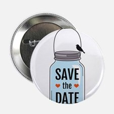 """save the date with mason jar and birds 2.25"""" Butto"""